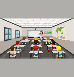 students in modern classroom vector image