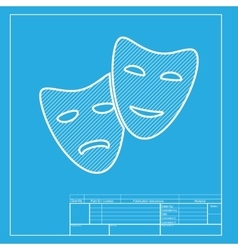 Theater icon with happy and sad masks White vector image