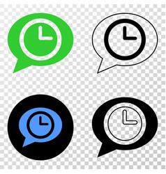 Time message balloon eps icon with contour vector