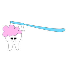 tooth and toothbrush on white background vector image