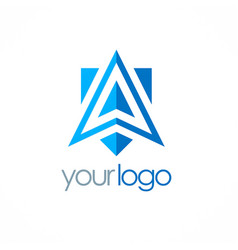 triangle arrow navigation logo vector image
