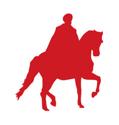 Turkey soldier in horse walking silhouette icon vector
