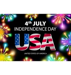 USA flag with fireworks background Happy 4th July vector