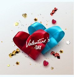 Valentines day couple woven hearts vector