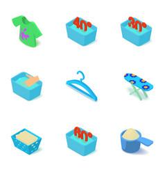 Warm wash icons set isometric style vector