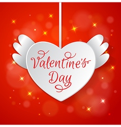 White paper heart for Valentines day vector image
