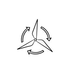 wind generator hand drawn sketch icon vector image