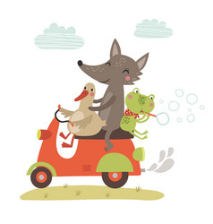 wolf goose and frog on a motorcycle vector image