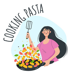woman girl character cooking pasta and vegetable vector image