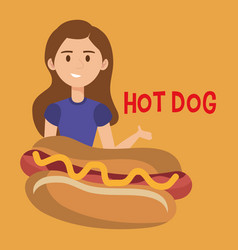 woman with hot dog character vector image