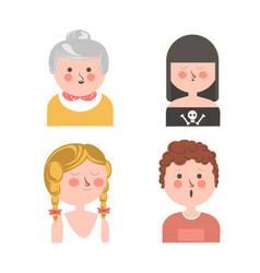Women and curly guy funny cartoon avatars set vector