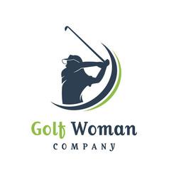 Womens golf sports logo design vector