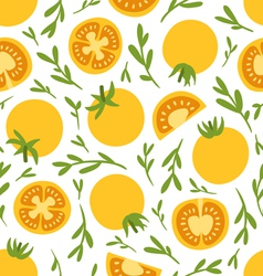 Yellow tomatoes pattern vector image