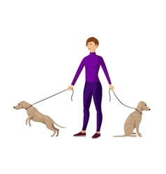 Young slim girl keeping two dogs on leads vector