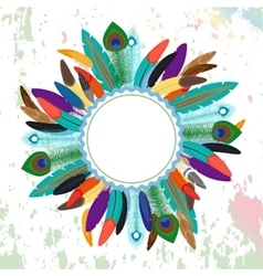 Feather on grunge background vector image vector image
