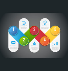 Infographics with 5 steps or options colored vector
