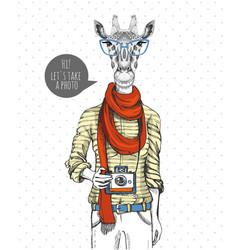 Retro hipster animal giraffe with photo camera vector