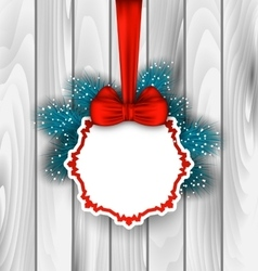 Winter Elegant Card with Red Bow Ribbon vector image