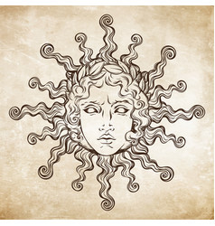 hand drawn antique style sun with face of apollo vector image vector image