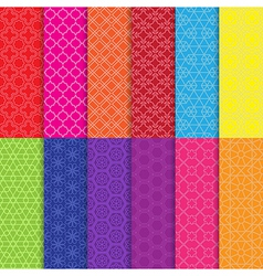 Set of colorful line seamless patterns vector image