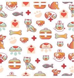 veterinary pets clinic animal seamless pattern vector image