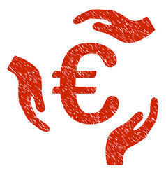 euro care hands icon grunge watermark vector image vector image