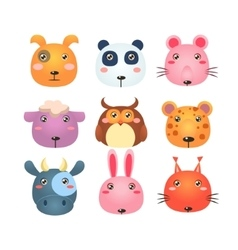Set of Cartoon Animal Head Icons vector image
