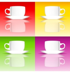 Set of coffee cups on colored backgrounds vector image vector image