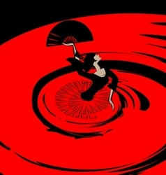 abstract image of flamenco with fan vector image vector image