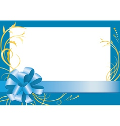 blue floral frame with white center vector image vector image