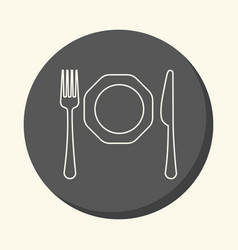 fork knife and plate round linear icon vector image