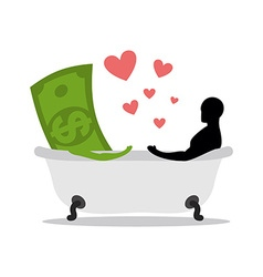 love of money Dollar and man in bath Man and cash vector image vector image