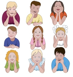 Set of nine young children leaning on they elbows vector image vector image