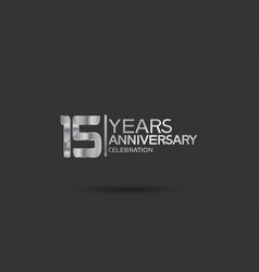 15 years anniversary logotype with silver color vector