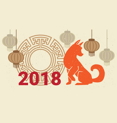 2018 new year poster dog and chinese lanterns vector image