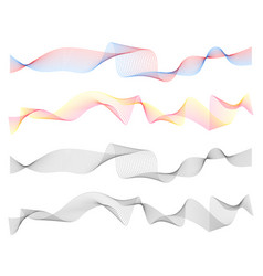 abstract line waves digital design set vector image