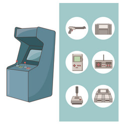 Arcade videogame round icon vector