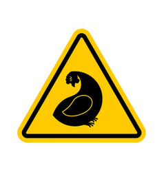 Attention hen dangers of yellow road sign chicken vector