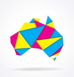 Australia map folded paper origami cmyk vector
