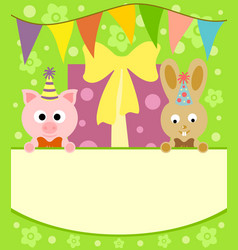 background card with funny pig and rabbit vector image