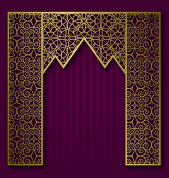Background with golden patterned arched frame vector