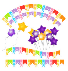 balloons in shape of gold five-pointed star and vector image