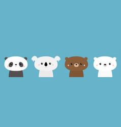 Bear set panda koala grizzly polar cub cute vector