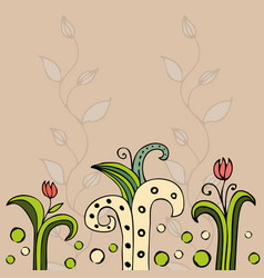 Beautiful color floral design card vector