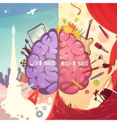 Brain Right Left Sides Cartoon Poster vector