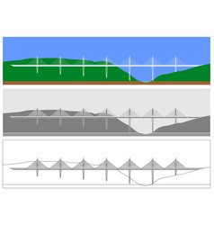 Bridge skyline colored and outline only vector