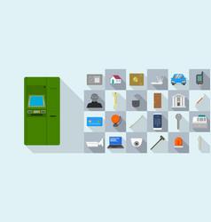 Burglar icons set flat style vector
