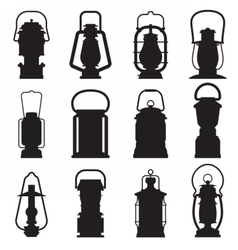 Camping Lantern Silhouettes vector