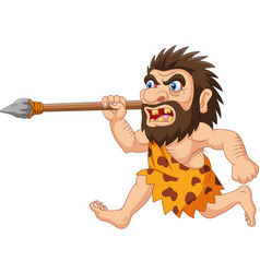 Cartoon caveman hunting with spear vector