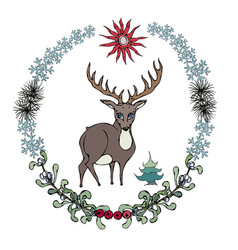 Cartoon style deer in forestry wreath vector